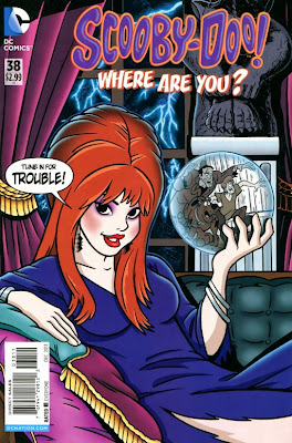 Daphne as a horror hostess on Scooby-Doo! Where Are You? #38 cover