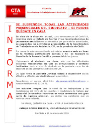 SE SUSPENDEN TODAS LAS ACTIVIDADES PRESENCIALES DEL SINDICATO – SI PUEDES QUÉDATE EN CASA