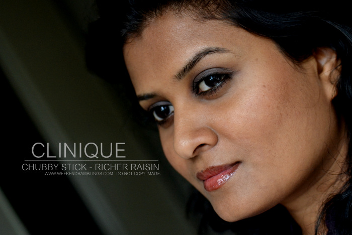 Clinique Chubby Stick Richer Raisin Indian Darker Skin Review Swatch FOTD Makeup Beauty Blog
