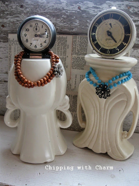 Chipping with Charm: Repurposed Clock and Vase Ladies...www.chippingwithcharm.blogspot.com