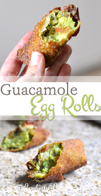 Guacamole Egg Rolls with white queso and salsa to dip.  This sounds so amazing!