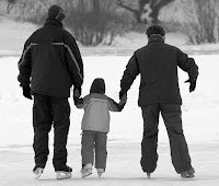 A family out ice skating in winter.