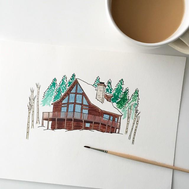 Kori Clark Design watercolor cabin