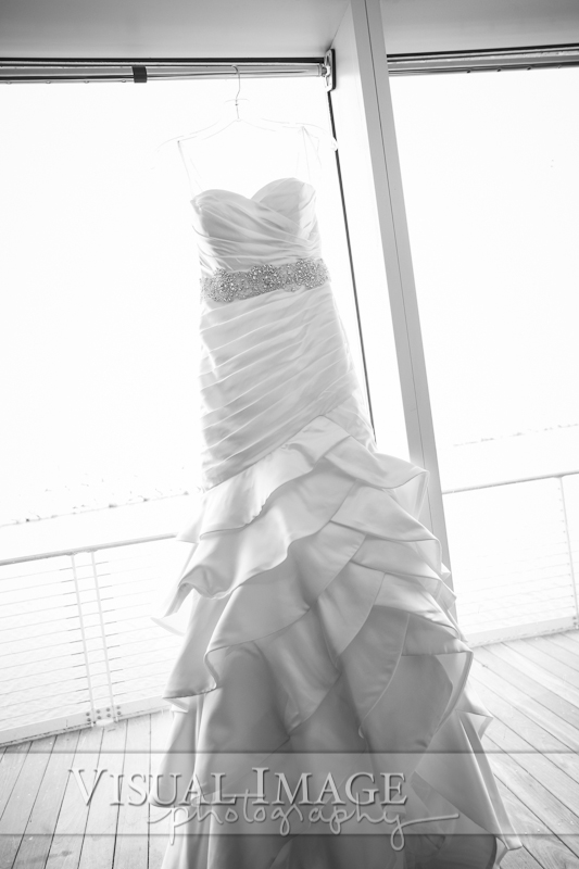 Wedding dress in natural light of window at Discovery World