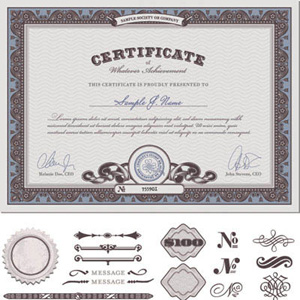 Certificate element vector templates graphic File Style in EPS, AI and JPEG format
