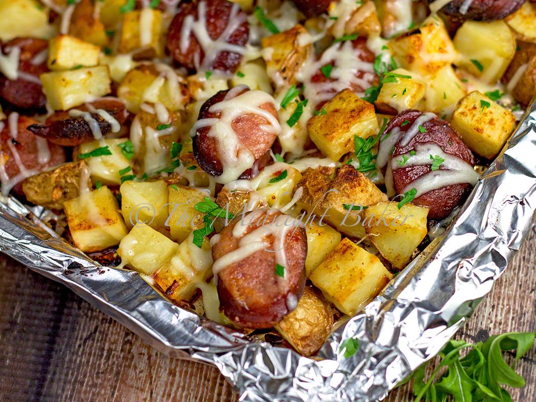 Kielbasa & Potato Gratin | bakeatmidnite.com | #kielbasa #potatoes #easydinners