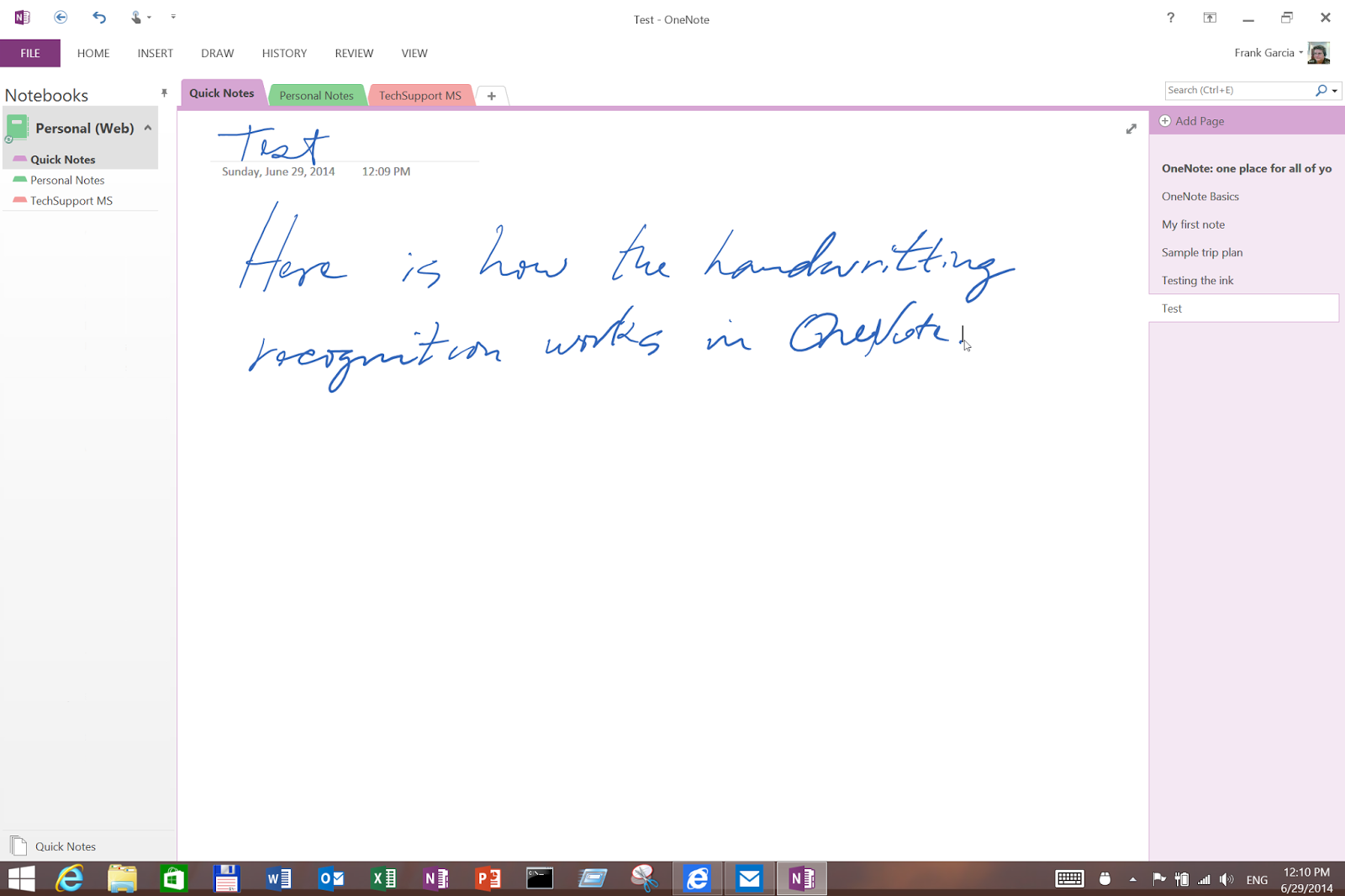 onenote how to use tuchsreecn to draw