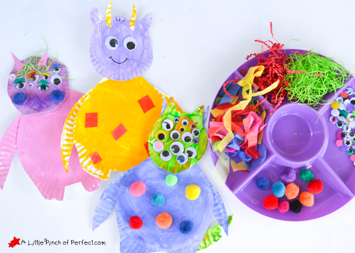This easy Paper Plate Craft did the trick\u2026 now they always have a monster in their room and it\u0027s no big deal. This craft is also perfect for a less-scary ...  sc 1 st  A Little Pinch Of Perfect & Silly Monster Paper Plate Craft for Kids -