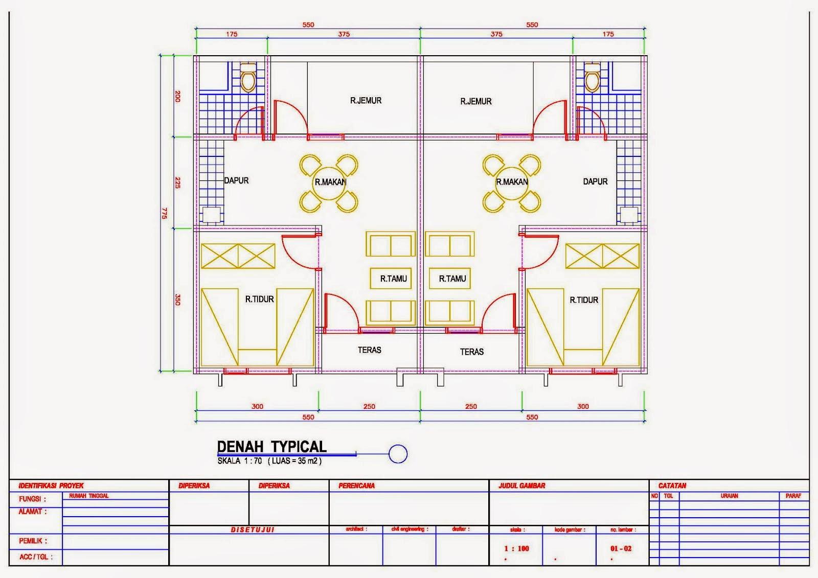 contoh denah rumah kontrakan minimalis 2015