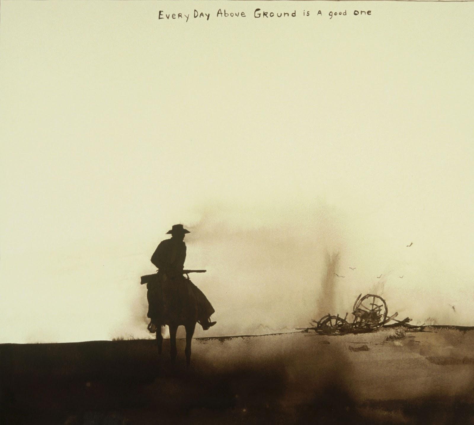 vaquero encima de caballo mirando restos de carro en acuarela