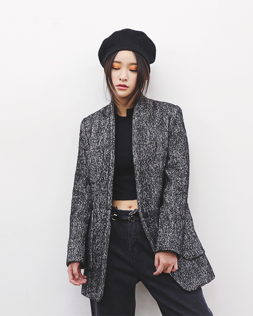 Shawl Collar Mix Thread Coat