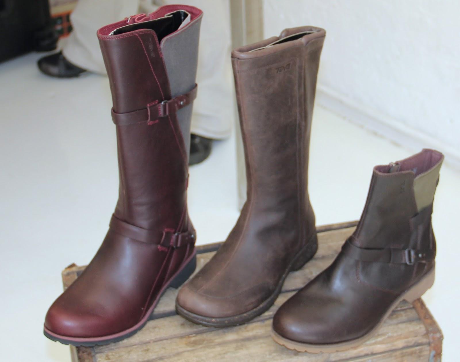 Women's left-De La Vina Boot leather/canvas w/ Spider 365 Rubber sole for  grip, waterproof upper, adustable strap for great fit, side zip ez on/off.