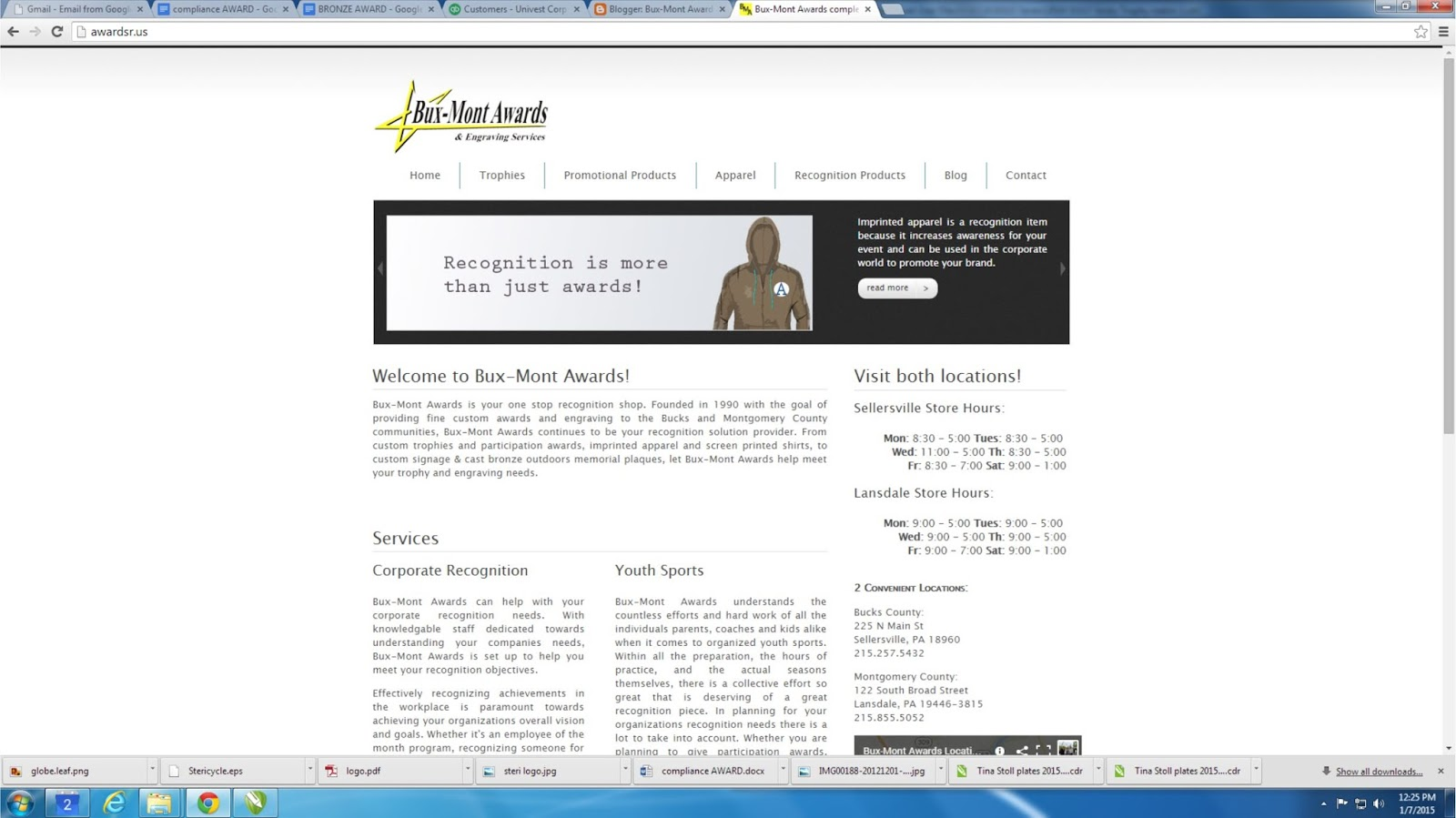 website screenshot for Bux-Mont Awards