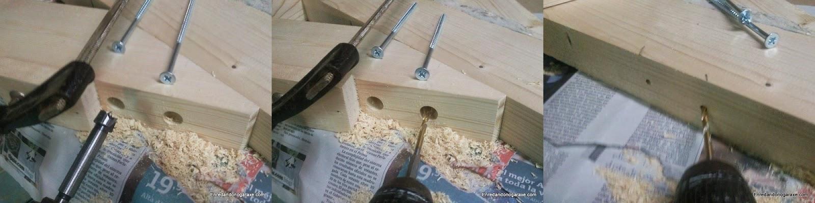 Taladrando agujeros ciegos y guía para unir los refuerzos. Enredandonogaraxe.com