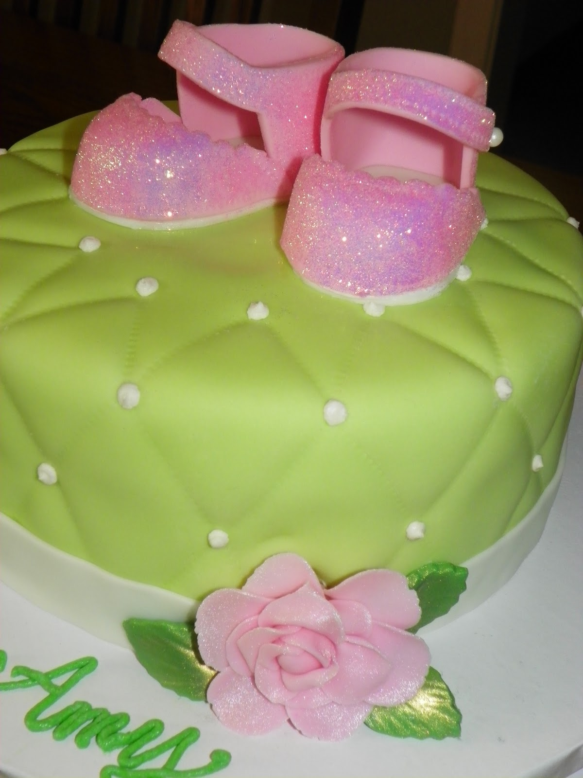 Plumeria Cake Studio Pink and Green Baby Girl Shower Cake