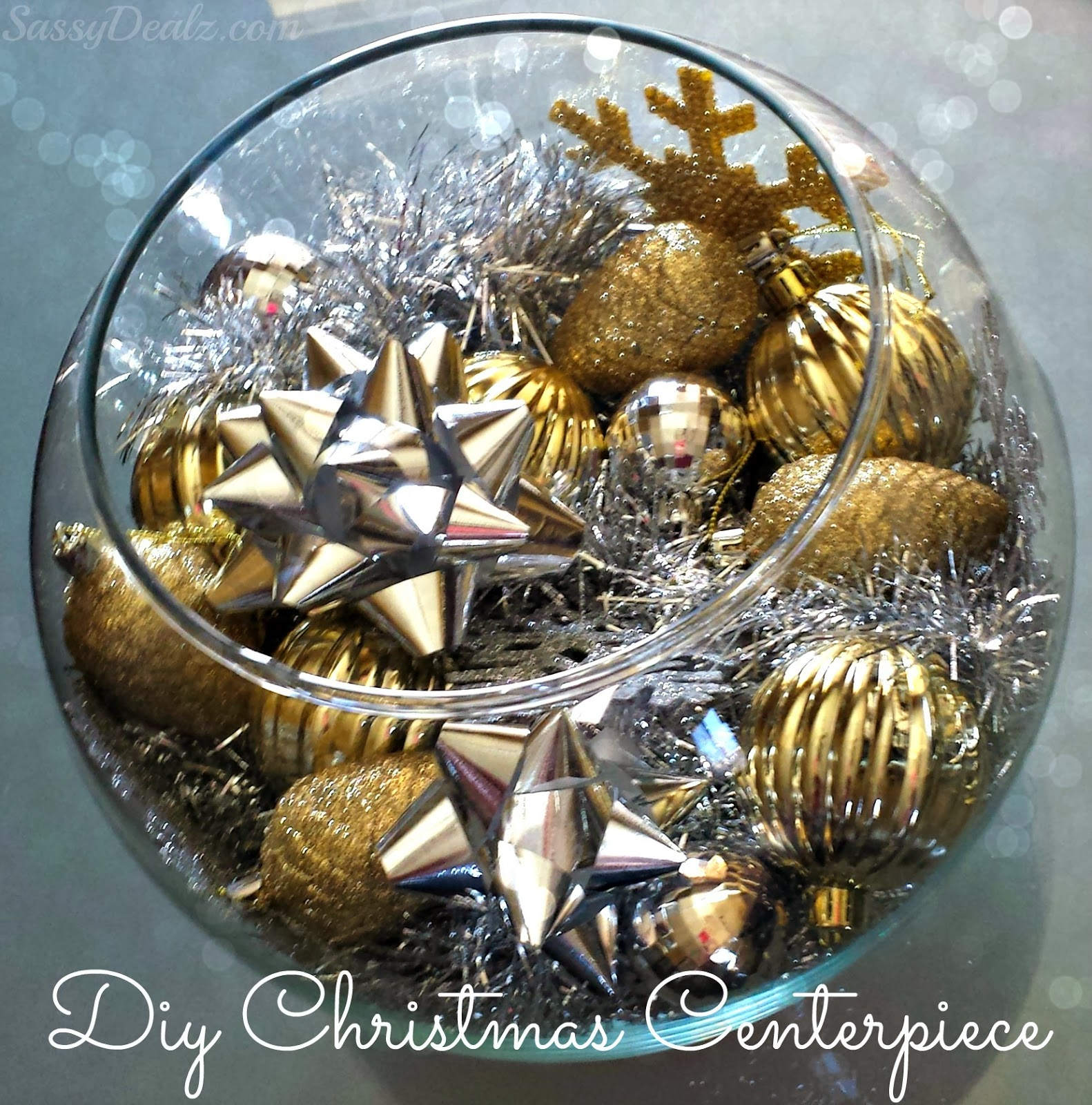 diy fish bowl christmas centerpiece silver gold - Diy Christmas Centerpieces
