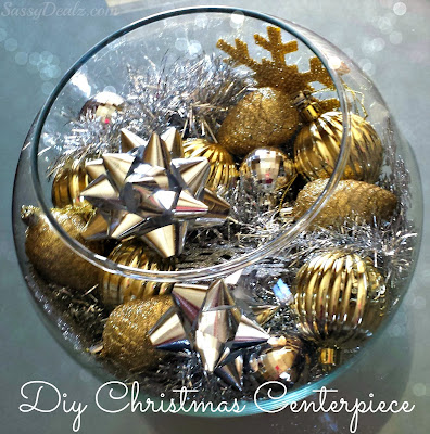 diy fish bowl christmas centerpiece silver gold