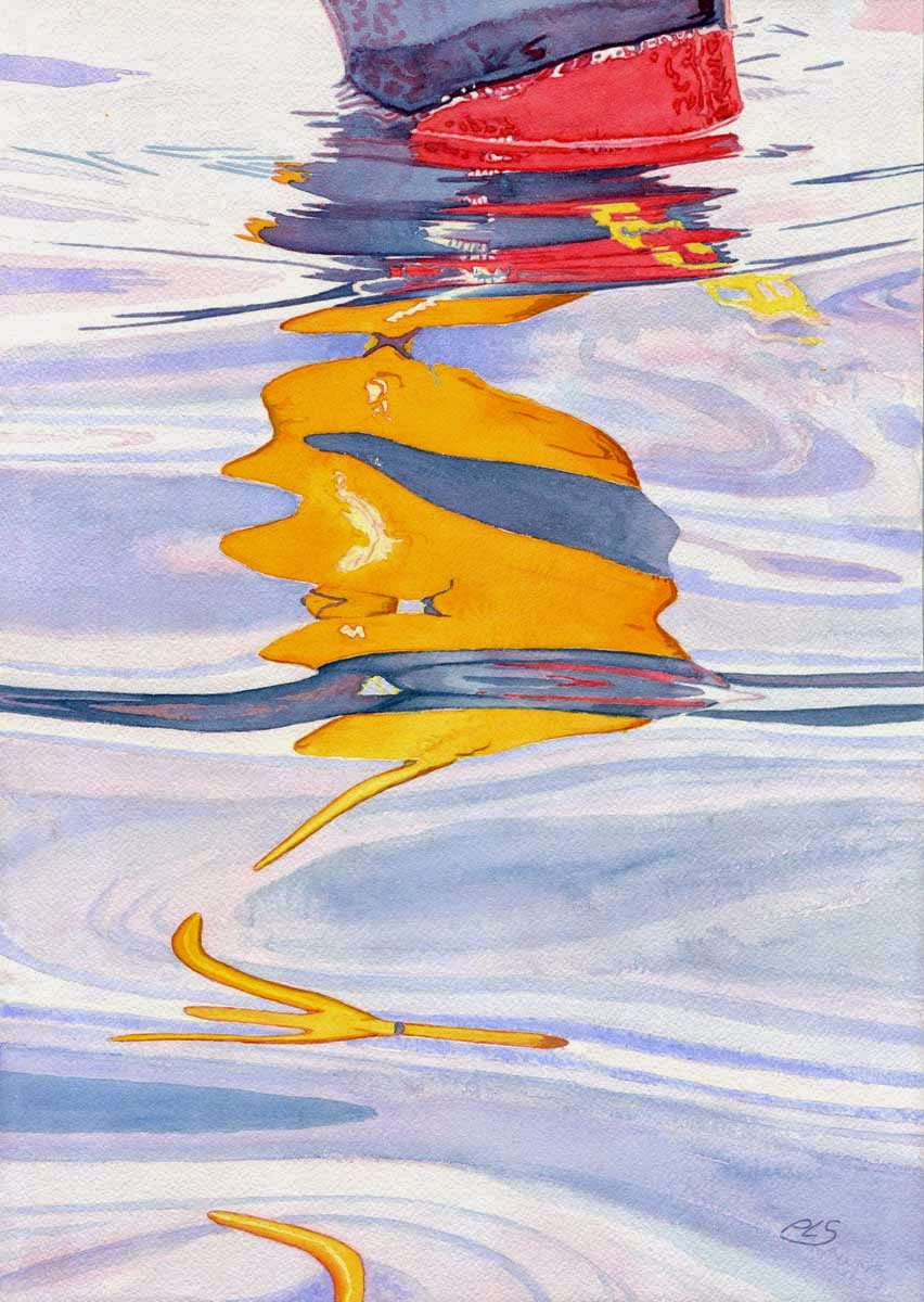 "Yellow Blue Buoy In Water - Watercolor 14"" x 20"""