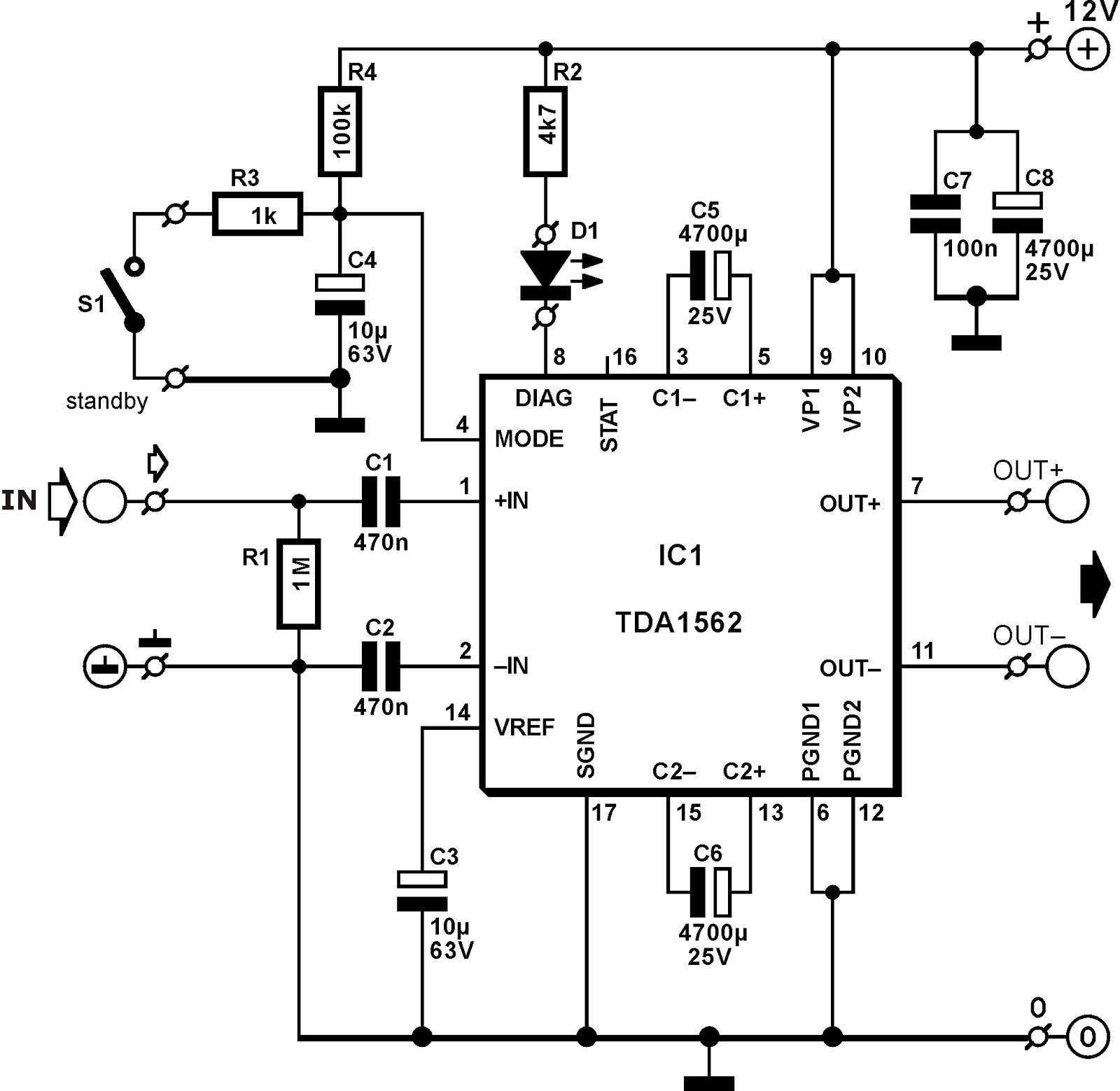 amplificator 50w cu tda1562