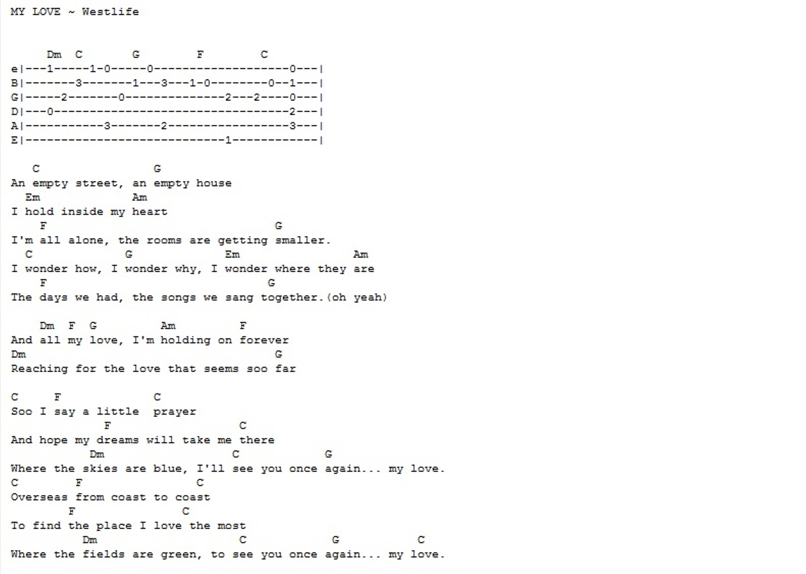 Bhavans Westlife My Love Guitar Chords