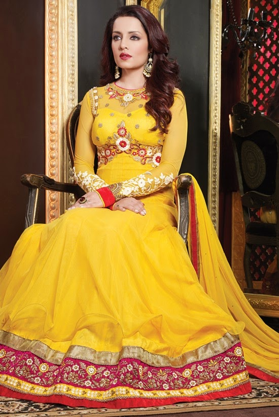 Net Yellow Designer Embroidery Anarkali Suit with Dupatta