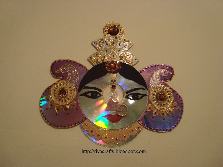 Riya 39 s crafts craft ur scrap durga mata cd craft for Waste crafts making