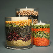 seeds, beans, nuts in candle holder