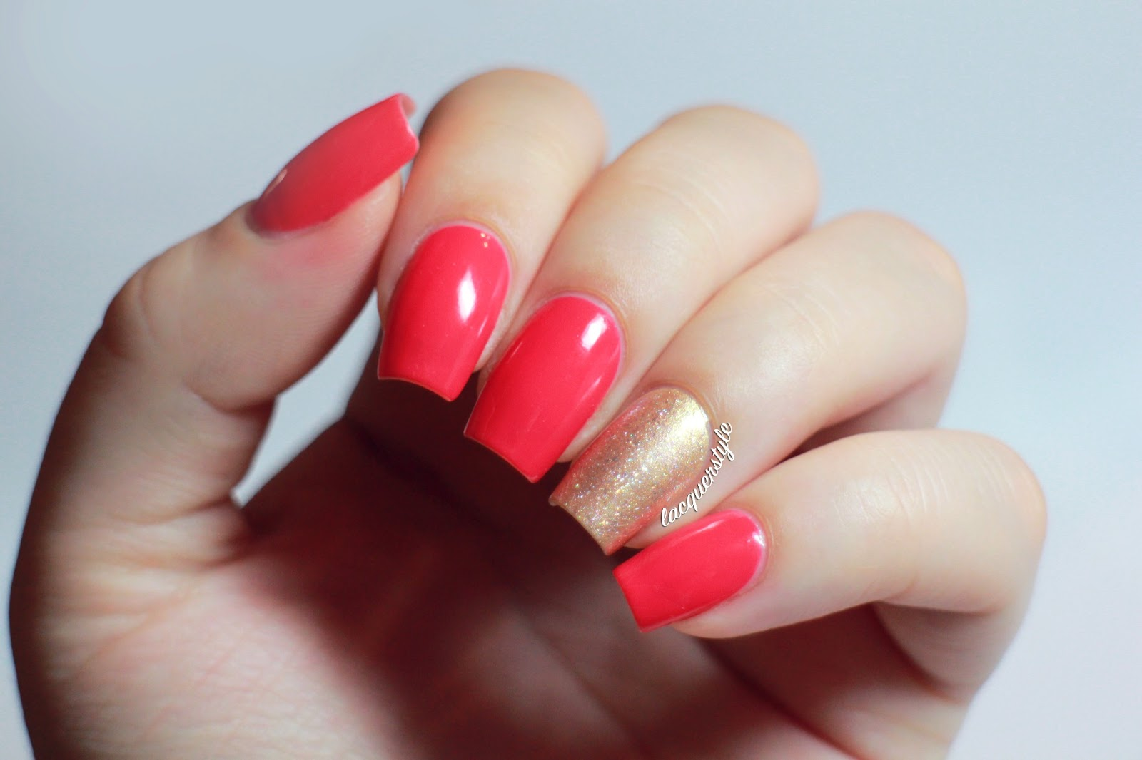 Lacquerstyle.com: Jin Soon Coral Peony + Fan Brush Nail Art