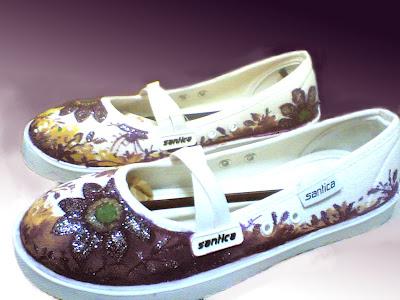 sepatu Lukis lilac 293 Cewek Rp 125 000,sepatu lukis bunga,sepatu lukis menggunakan gliter,sepatu lukis