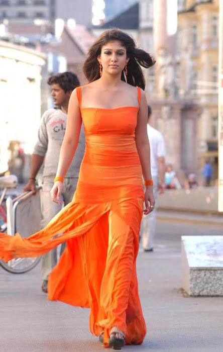 nayanthara in orange dress cute stills
