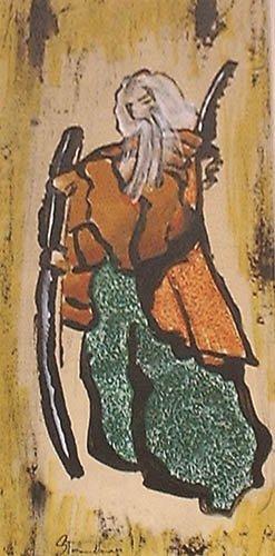 vecchio guerriero giappone dipinti pittura orme magiche dipinto quadro disegno pittura spirituale arte zen