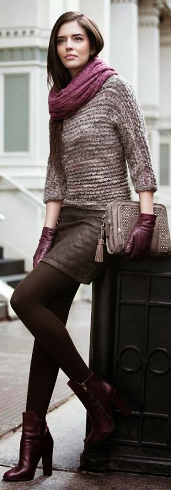 Adorable Sweater and Mini Skirt with Handbag Boots and Amazing Scarf