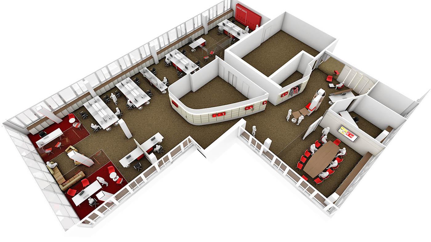 Virtuelle 3D Modelle - Architekturvisualisierung: Innendesign Büro ...