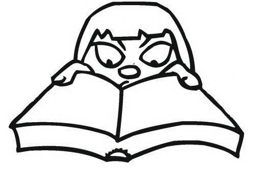 Niña leyendo libro para colorear - Dibujo Views