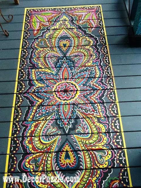 hand-painted floor, creative flooring ideas, floor art and drawing