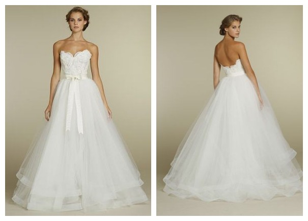 Lace and Tulle Strapless Sweetheart Ball Gown 2 in 1 Wedding Dress