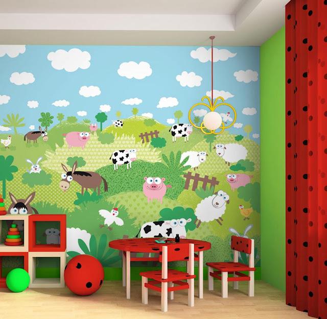 Atelier tatababa rinnovare la camera di un bimbo le pareti for Carta da parati camera ragazzi