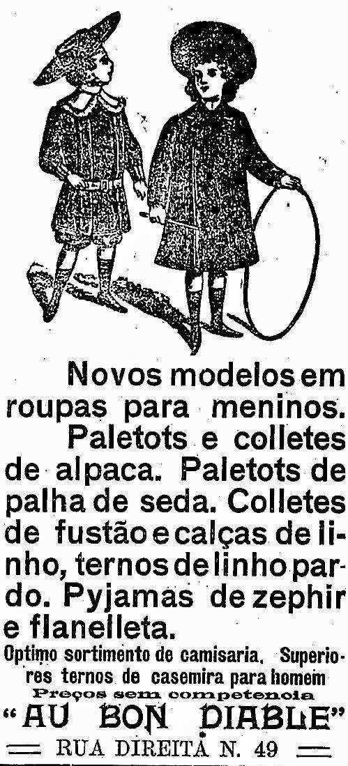 Propaganda da loja 'Au Bon Diable' em 1909 com moda para crianças.