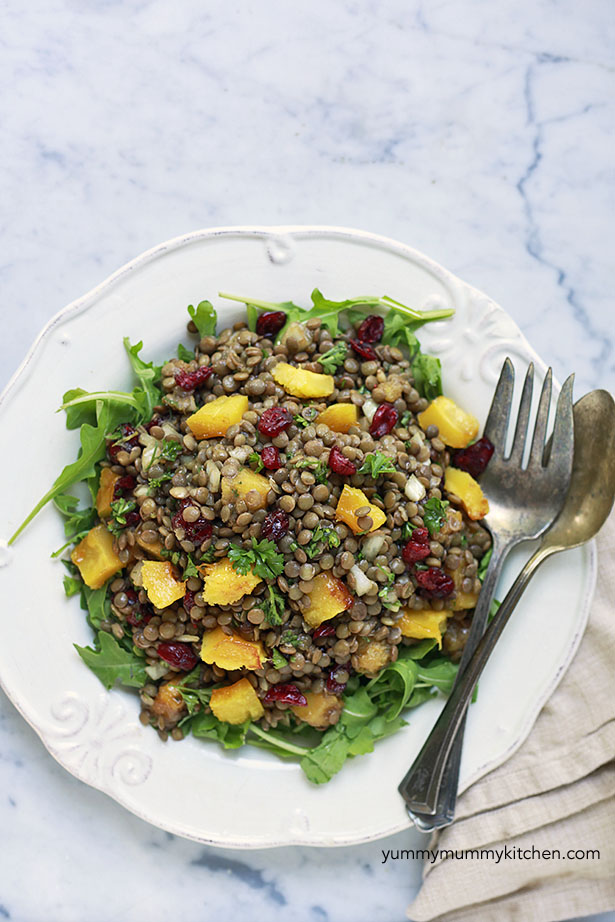 healthy lentil salad with squash and cranberries