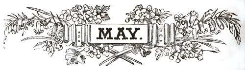 vintage May banner woodcut engraving