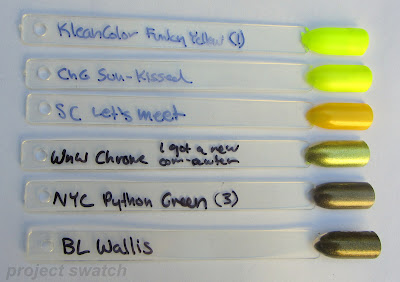 yellow and olive nail polish swatches