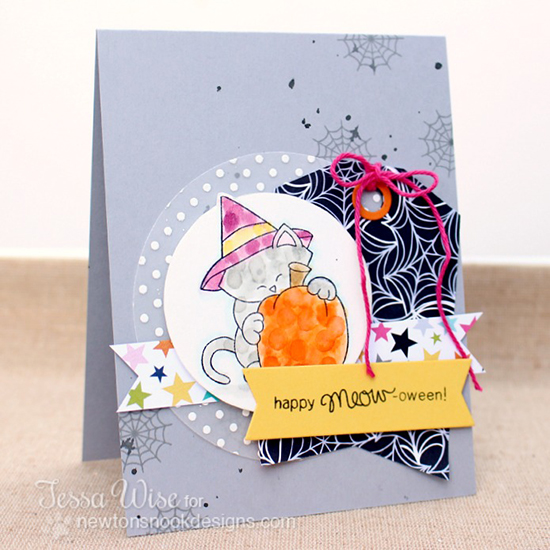 Halloween Kitty Card by Tessa Wise! Newton's Perfect Pumpkin Stamp set by Newton's Nook Designs