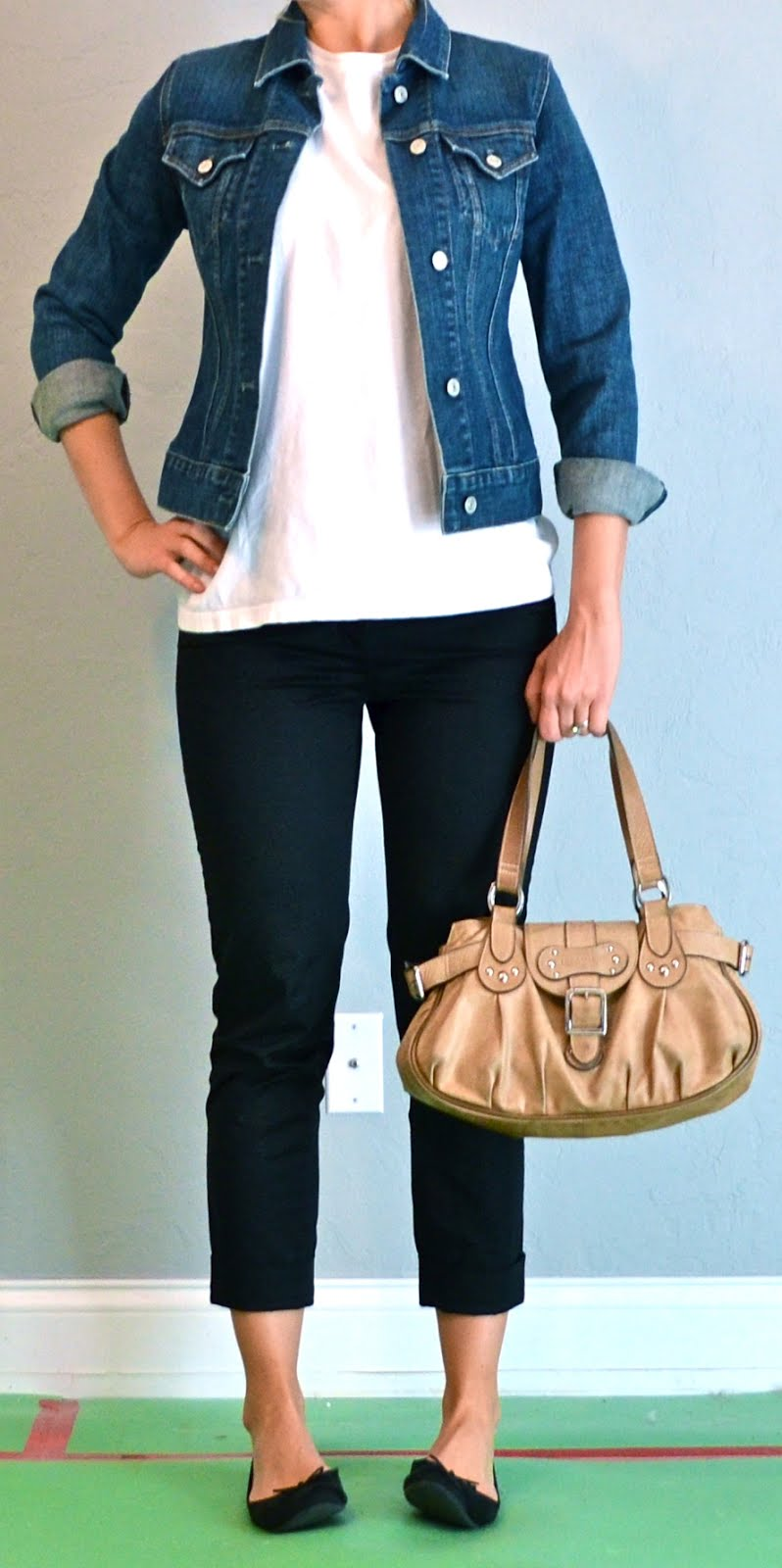outfit post: black cropped pants, white shirt, jean jacket ...