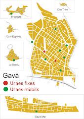 Mapa de les meses electorals que hi haurà a Gavà el 10 Abril