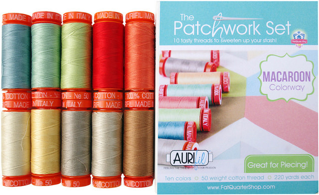 Aurifil 50wt The Patchwork Set in Macaroon colorway exclusive to the Fat Quarter Shop