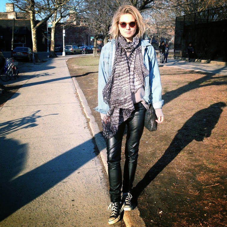 Trash & Vaudeville vegan leather pants, Bottega Veneta intrecciato cross-body bag, beat up Chuck Taylors, reptile print Sutle Luxury + Spun scarf, Levi's denim shirt, Raen Optics Arkin sunglasses