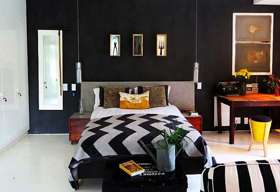 Safari Fusion blog | Monochrome | Drama in the bedroom with a black, grey and white colour palate | Bedroom at Tool Shed, Constantia, South Africa