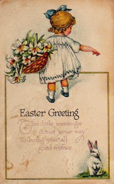 vintage easter card girl with bunny