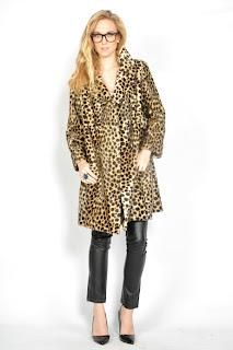 Vintage 1960's leopard print faux fur swing peacoat