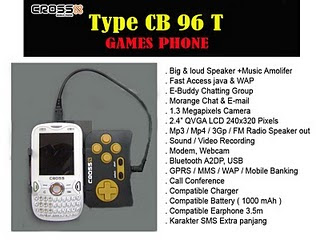 Cross CB 96T : Spesifikasi, Harga Hp Game Cross CB 96T